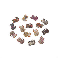 15Pcs 2-hole Cartoon Mixed Lovely Cat Shape Wooden Floral Painting ButtonsPTCA