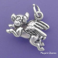.925 Sterling Silver 3-D FLYING PIG Angel With WINGS Charm Pendant - lp4107