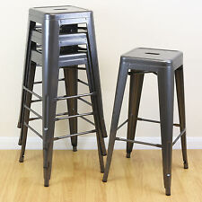 Set of 4/Four Hartleys Gunmetal High Stools Industrial Breakfast Bar/Cafe/Bistro
