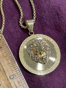 Vintage 90s Versace Greek Lion Logo 14k Gold Layered necklace & Pendant