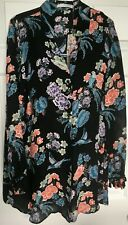 "NWT JOHNNY WAS Sz XL ""Garden Floral' 100% Silk Chiffon MultiColor Tunic Blouse"
