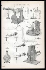 Electricidad 1883 #2 Litografía Victoriano Generador electrostático
