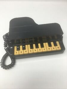 **VINTAGE 80s PIANO PHONE TELEPHONE BLACK GRAND PIANO - TESTED AND WORKING**