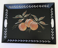 Vintage Tole metal Tray Hand Painted fruit SIGNED ALIX Black 1960's 16.5X12""