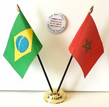 Brazil Rio Olympics 2016 & Morocco Friendship Flags & Badge Set