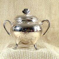 Antico Christofle Placcati Argento Zuccheriera Barattolo Art Nouveau Trifoglio