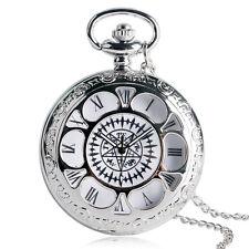 Cosplay Anime Black Butler Kuroshitsuji Necklace Silver Quartz Pocket Watch Gift