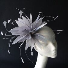 Silver Feather Fascinator for Weddings, Races and Proms