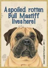 A spoiled rotten Bull Mastiff lives here Wood Fridge Locker Dog Magnet 2.5X3.5