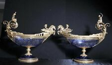 Pair Big Cut Glass Empire Tureens Vases Urns Ormolu Maidens