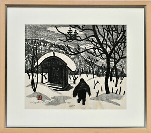 Saito Kiyoshi: Winter in Aizu (I). Signierter Original-Farbholzschnitt. Gerahmt.