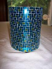 "Cracker Barrel Blue & Green Mosaic 6 3/8"" Hurricane Candle Holder"