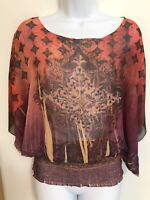 One World Women's Semi Sheer Top Elastic Smocked Waist Size Large NWOT