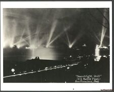8x9&15/16:Reprint of Real USN Photo-Searchlight Drill-S.F.Bay-US Fleet