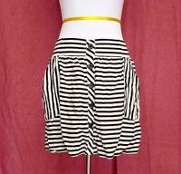 Forever 21 Mini Skirt Black White Striped Womens Size S Elastic Waist Pockets