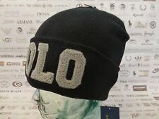 POLO RALPH LAUREN Fold-Up Beanie Chenille VARSITY Hat Black Skull Cap Bnwt  Rp £ 59 36b0f3e5df43
