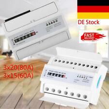 Digital Drehstromzähler Hutschiene 20(80A)/15(60A) Stromzähler 3phase 4-Wire DE