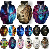 Women Men Animal Wolf 3D Print Hoodie Sweatshirt Pockets Pullover Jumper Coat
