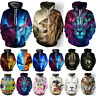 Women Men Animal Wolf 3D Print Hoodie Sweatshirt Pockets Pullover Jumper Tops