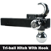 "Tri-Ball Hitch With Hook Trailer Hitch Ball Receiver Mount 1-7/8"" 2"" 2-5/16"" Tow"