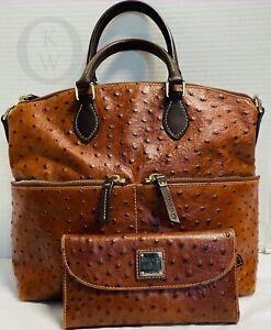 *DOONEY & BOURKE*Brown*Leather*Double Pocket Ostrich Satchel & Wallet*21165D