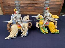 """2 Vintage Burwood 3D Wall Hanging Knights on Horses with lances Decor Art 12"""""""