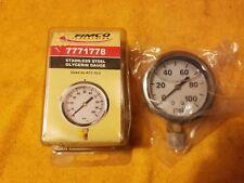 Fimco Industries 7771778 Stainless Steel Glycerin Dial Pressure Gauge 100 Psi