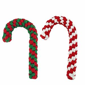 Christmas Dog Chew Rope Toy 100% Cotton Non-Toxic Set of 2 Free shipping