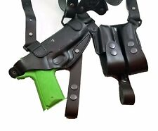 Armadillo Black Leather Horizontal Miami Vice Shoulder Holster for 1911 w/rail