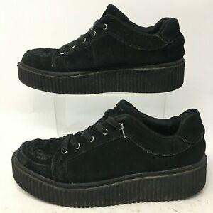 T.U.K Womens 10 Mens 8 Casbah Creeper Platform Sneakers Black Suede Casual A9174