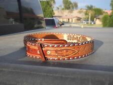 Vintage Ranger style  Tooled Leather Western Cowboy Belt Sz 34