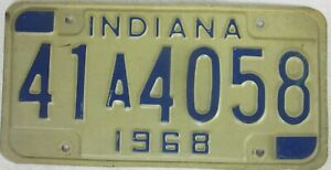 INDIANA 1968 licence/number plate US/United States/USA/American 41 A 4058