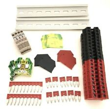Red/Black DIN Rail Terminal Block Kit Dinkle 20 DK6N 8AWG 50A 600V Ground Jumper
