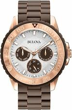 Bulova White Dial Brown Rubber Stainless Steel Strap Quartz Ladies Watch 98N103