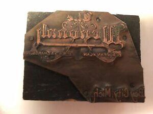 Wenonah Hotel, Bay City, Michigan Copper Letterpress Print Block~ PB84