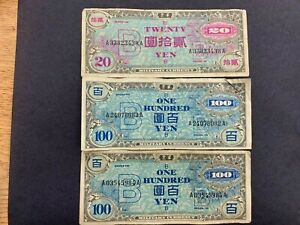 JAPAN (3 Notes)  20 and 100 Yen 1945  -- Allied Military Currency  AMC