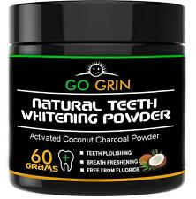 Activated Coconut Charcoal Natural Teeth Whitening Powder Safe on Enamel Go Grin