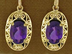 E093 Genuine 9K Gold Natural Amethyst Oval Drop Earrings Victorian Scroll Design
