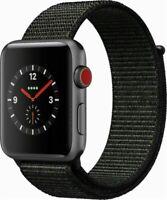 Apple Watch Series 3 38mm Space Gray Case Black Sport Loop GPS + Cellular Mint
