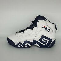 Fila White Blue Red Leather Trainers High Hi-Top Lace Up UK 5 EUR 38.5 VGC Mint
