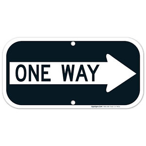 One Way Sign, With Right Arrow