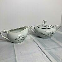 Vintage Castlecourt Wheat Spray Japan China Sugar Bowl and Creamer EUC