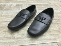 NEW Emporio Armani Black Mens Leather Driver Loafers Shoes / Driving / Slip On
