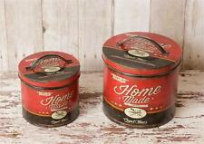 New Primitive Retro Vintage Style Red MOM'S HOMEMADE Canister Tin Can Set 2
