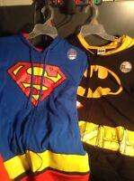 New Mens DC Comics Superhero Cosplay Full Zip Hoodie Batman or Superman W/Cape