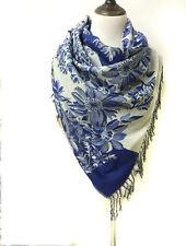 Blue Women's Fashion Warm 100% Cashmere Floral Pashmina Shawl Wrap Scarf Scarves