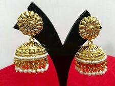 Indian Women Jhumka 18K Gold Tone Earrings Bridal Wedding Party Wear Jewelry
