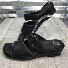 Clarks Women's Black Leather Mules Strap Hook Loop Wedge Sandal Wedge Size 7.5