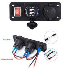 12V Dual USB Charger With Cigarette Lighter Plug Switch for Car Boat Truck Phone