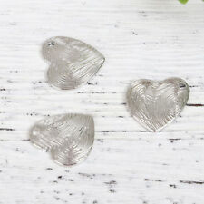 BULK SALE 30 x Unusual Fingerprint Design Heart Shaped Charms 15mm FREE P&P